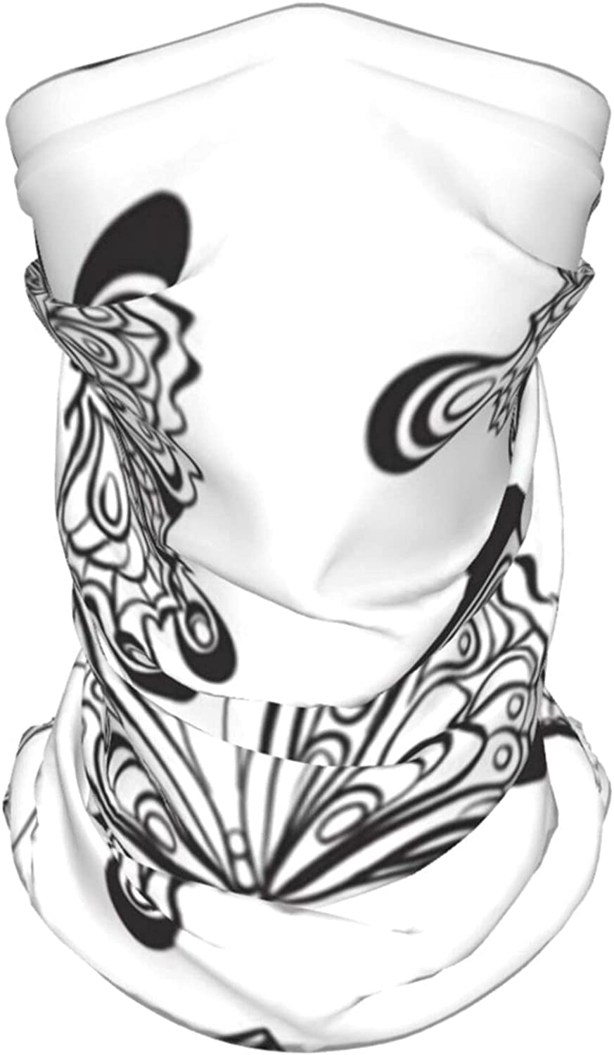 Black White Butterflies Animals Wildlife Summer Ice Silk Breathable Face Mask Neck Gaiter Scarf Bandanas for Fishing,Hiking,Running,Motorcycle and Daily Wear