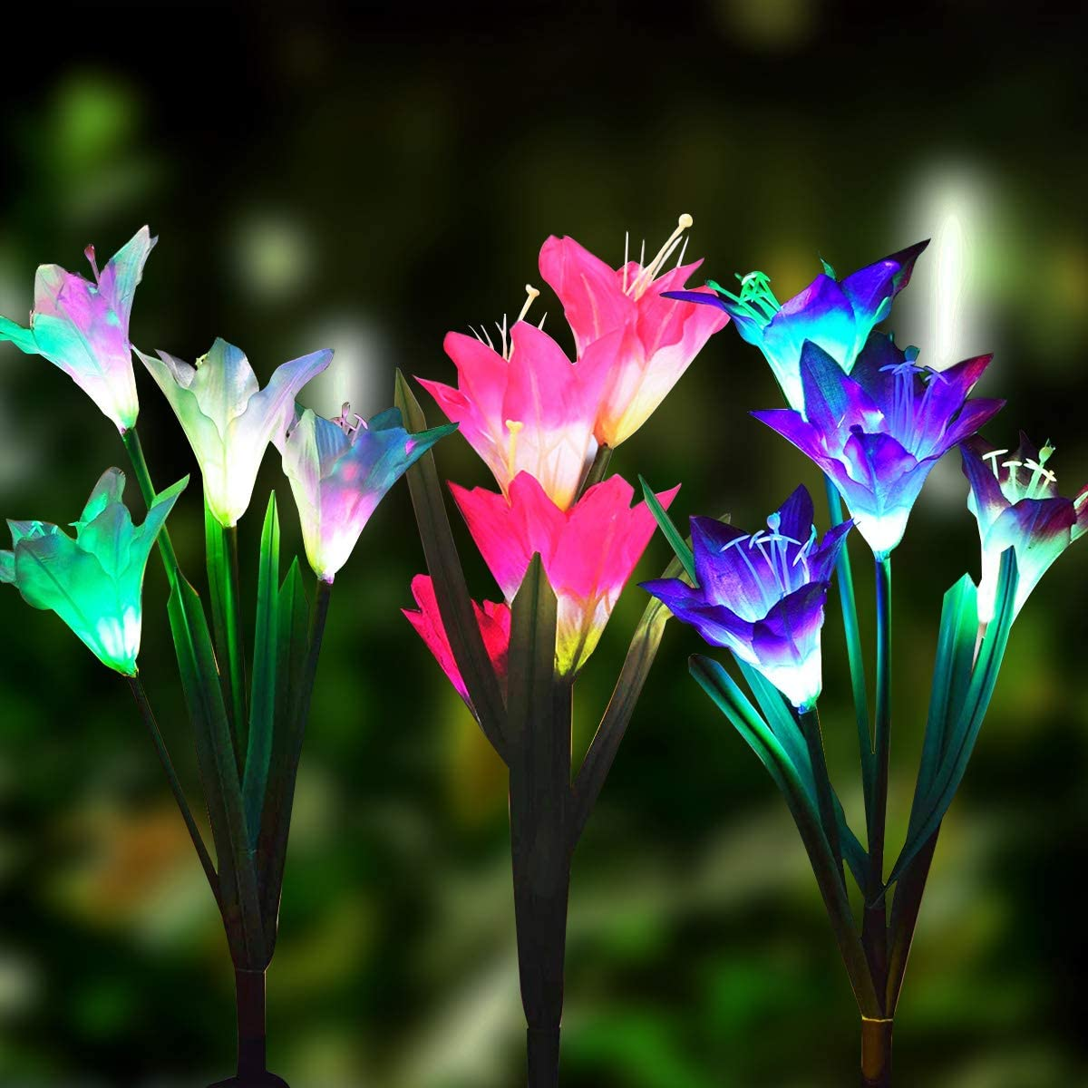 Solar Flower Lights Outdoor 3 Max 53% OFF with Pack Led Powered service