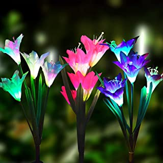 Solar Lights Outdoor - New Upgraded 3 Pack Solar Powered Garden Lights, Multi-Color Changing Lily Solar Flower Lights for ...