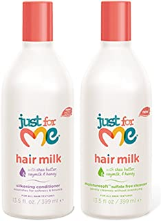 Just for Me Hair Milk Set – Silkening Conditioner, 13.5 Oz + MoistureSoft Sulfate Free Cleanser, 13.5 Oz – with Shea Butter, Soymilk, & Honey – 2-Pack