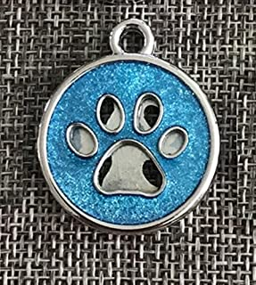 Polykor Useful Paw Pattern Powder Dog Tag Dog Necklace Pendant Accessories(Light Blue)