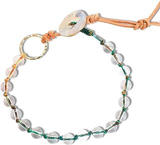 C·QUAN CHI Crystal Bead Bracelet Handmade Braided Bracelet Bangle Adjustable Friendship Bracelet Women Girls