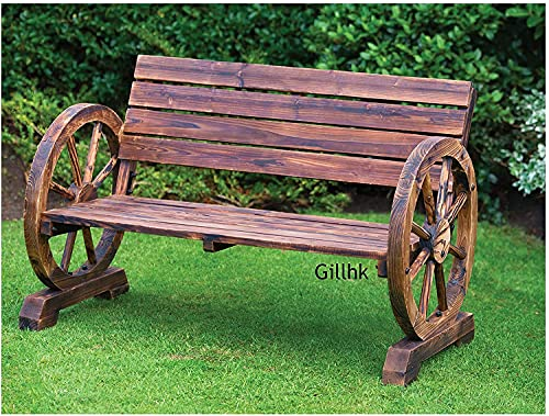 spot on dealz® Rustic Burnt wood Traditional Construction 2 Seater Wagon Wheel Bench Garden Patio Outdoor Furniture