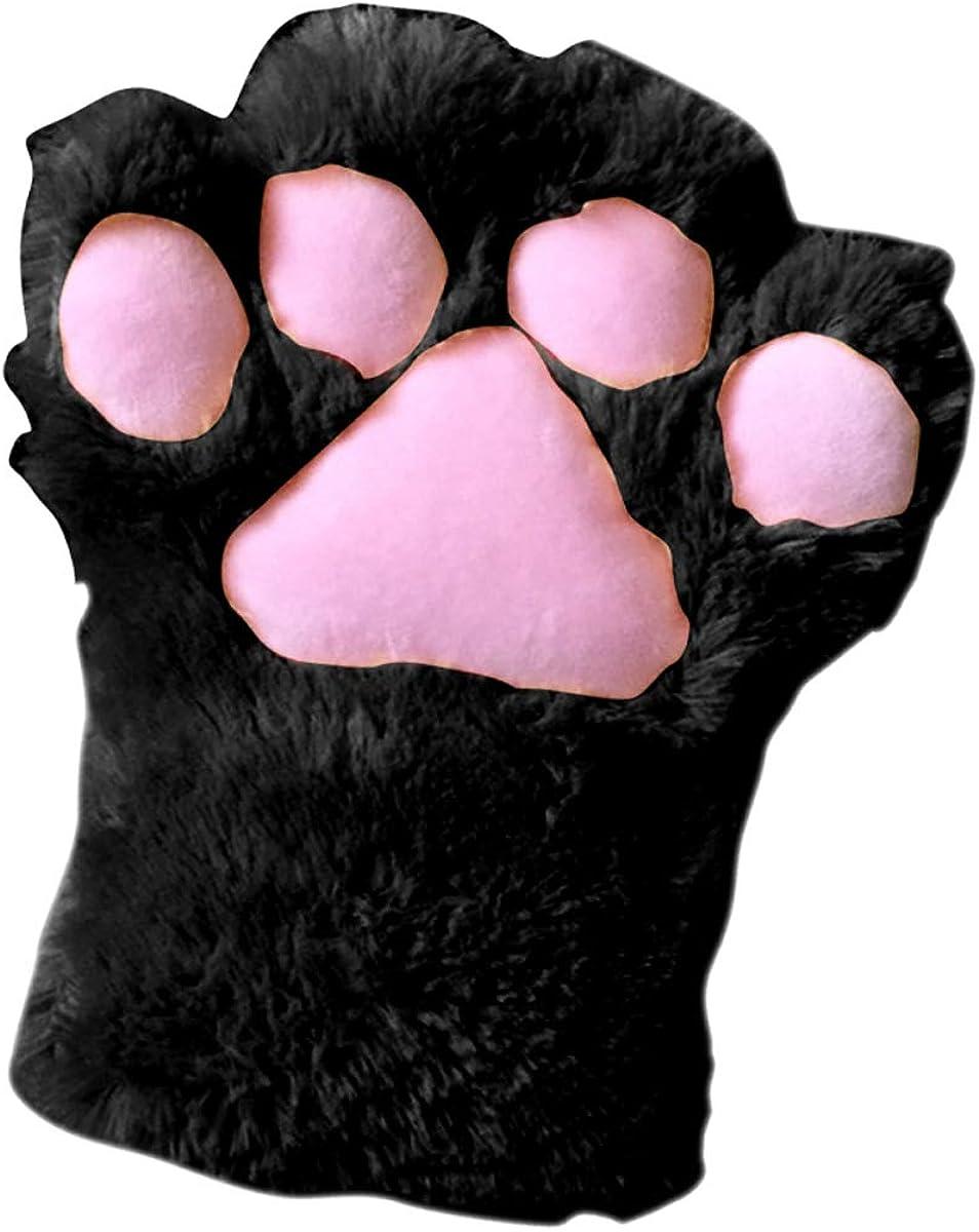 ROSEBEAR 1pc Women Girls Cute Cat Paw Fingerless Faux Fur Plush Glove for Cosplay