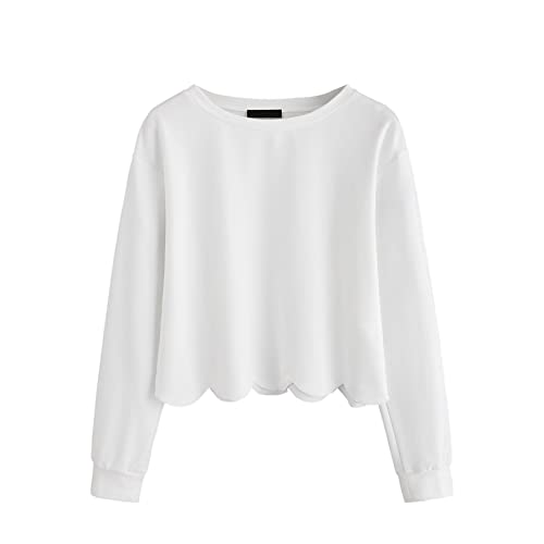 085d0df6ff1 Romwe Women's Casual Long Sleeve Scalloped Hem Crop Tops Sweatshirt