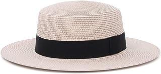 Jelord Sombrero Paja Hombres Mujer Canotier Empacables Mujeres Fedora Trilby Panamá Verano ala Ancha Sombrero Sol para Playa