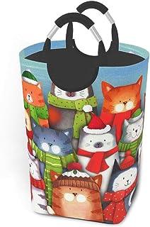 50l Grand Panier à Linge, mas Kitty Cat paniers à Linge Pliables avec poignées en Aluminium Sac de vêtements Sales Pliant