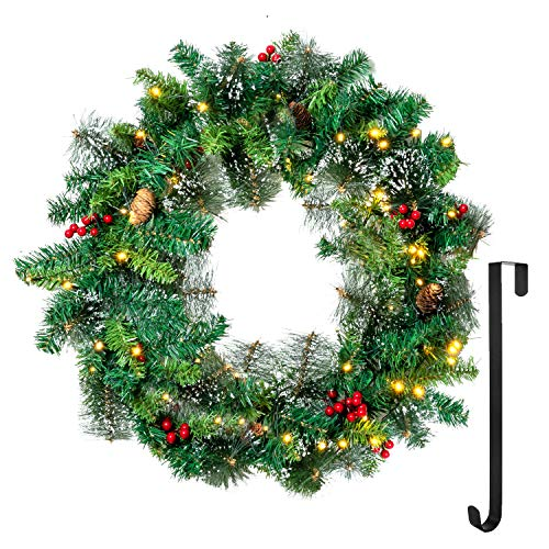 """24"""" Snow Flocked Christmas Wreath with 15"""" Hanger, Pre-lit Artificial Wreath with 50 LED Lights, Red Berries, Pine Cones for Front Door Wall Christmas Decorations (Battery Operated)"""