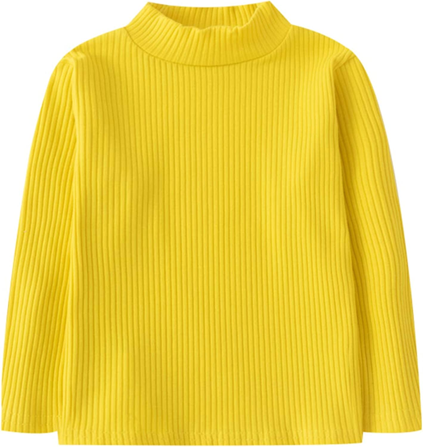 Hstyle Unisex Baby Cotton Turtleneck Shirts Baby Long Sleeve Shirts Basic Solid Color Plain Stripe Tops