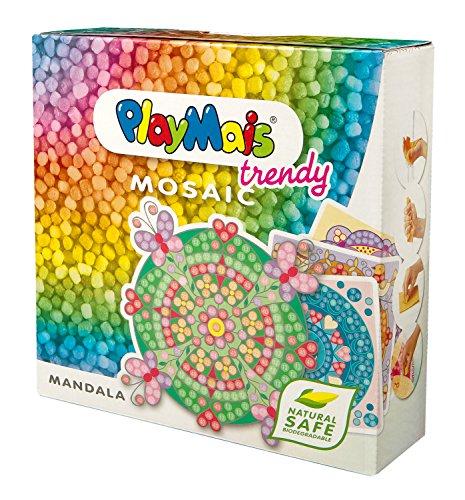 PlayMais TRENDY MOSAIC Mandala Kreativ-Set zum Basteln für Mädchen ab 6 Jahren | Über 3.000 Stück & 6 Mosaik Klebebilder mit Mandalas | Fördert Kreativität & Feinmotorik | Natürliches Spielzeug