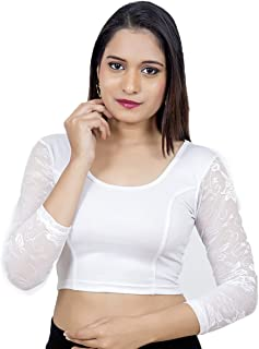 2c78dda6e8b8b1 Biyu Women's Lycra White Stretchable Lycra Readymade Saree Blouse(V-014- WHITE)