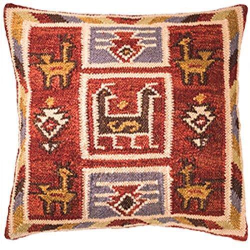 Kelim Kissen Birdsong Fair Trade Handarbeit auf gewebt mit 80/20Wolle/Baumwolle und natürliche Farbstoffe, 45x45