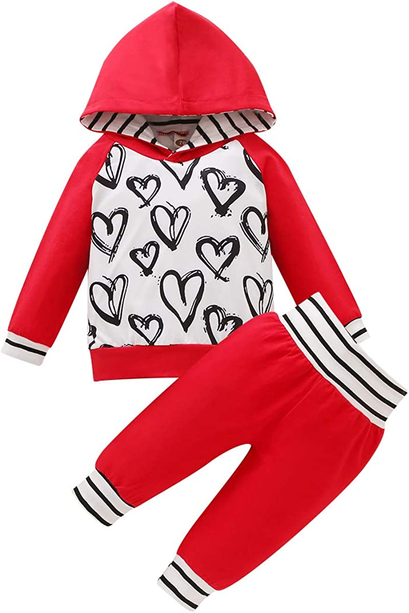 YOUNGER TREE 3PCS Infant Toddler Baby Girl Outfits Red/Gray Hoodie Sweetshirt+Pants Set Heart Valentines' Day Clothes