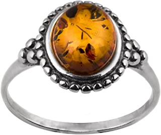 Sterling Silver Amber Oval Stone Victorian Look Ring