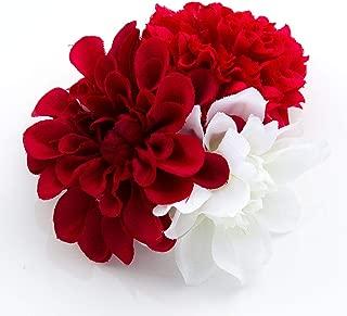[ミッシュキッシュ]髪飾り コサージュ 花下がり マムとダリアの三輪和風クリップ ヘアアクセサリー 4511-422