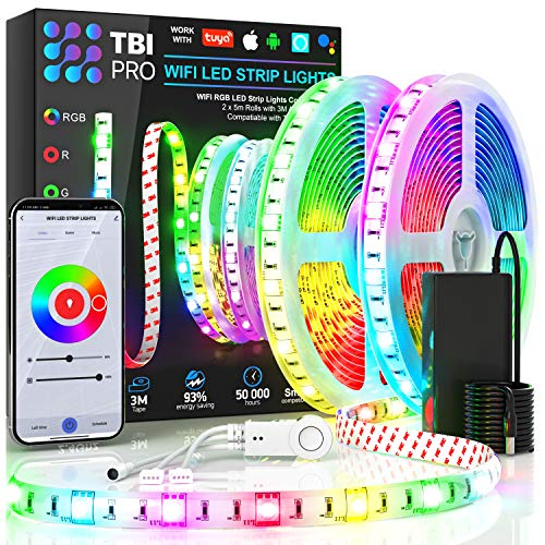 [Upgraded 2020] WiFi LED Strip Lights 32.8ft by TBI Waterproof Smart Works with Alexa, Google Home Super-Bright 5050 LED, Flexible RGB 16M Colors App-Controlled Music Remote 4 Kitchen, TV, Party