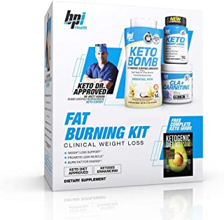 BPI Sports Fat Burning Kit Including Keto Bomb, Keto Weight Loss Fatburner, Cla+Carnitine, Ketogenic Guide Keto Dr. Approved