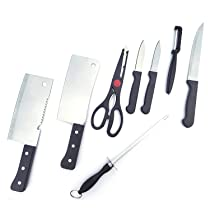 PQLQ 8 Piece Kitchen Knife Set Stainless Steel Include Include /3 Vegetable Knife and Fruit Knife /2 Meat Knife and Vegetable Knife /1 Scissor /1 Knife Sharpener and /1 Peeler Set