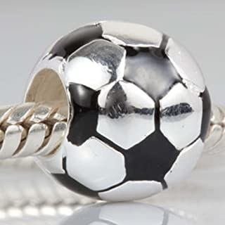 Football Charm with Black and White Enamel 925 Sterling Silver Soccer Ball Bead for Bracelet