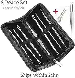 8 Pcs Blackhead Pimple Blemish Acne Extractor Remover Tool Kit Curved Tweezers