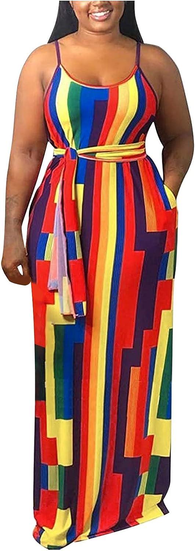 ManxiVoo Women's Casual Backless Spaghetti Straps Long Cami Dress Geometry Print Maxi Dress with Belt