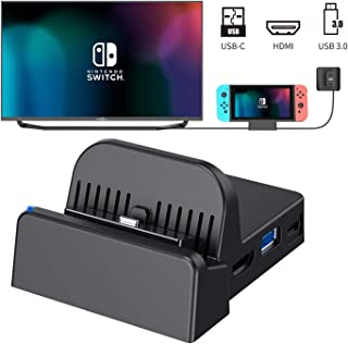 Womdee Switch TV Dock, Portable Charging Stand for Nintendo Switch,Compact Switch to HDMI Adapter,Mini Switch Docking Stat...