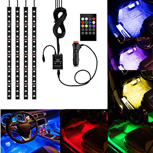 4Pcs Multicolor Car RGB LED Strip Light, YANF DC12V/72LEDs Car Glow Interior Atmosphere Floor Lights Neon Under Dash Lighting Kit with Sound Music Active Function and Wireless Remote Control