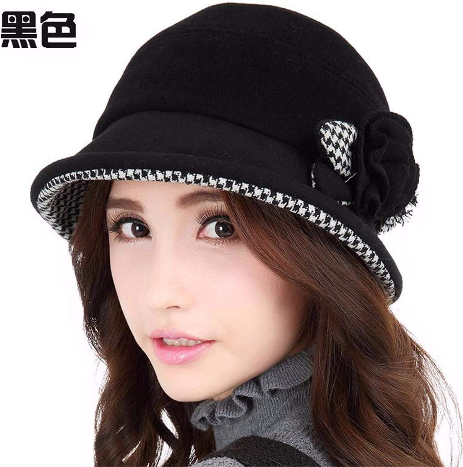 Dianye The Small Roll edge hat female autumn and winter England basin cap, Elegant New