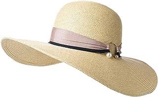 日曜日帽子ビーチ帽子UPF50 +夏女性麦わら帽子セルロース繊維日焼け止め調節可能折りたたみドームシーサイドベージュホワイト57 cm(カラー:ベージュ)
