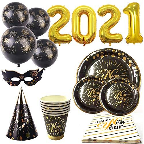 Platos y vasos decoración para fiesta de Nochevieja 2021. Platos y vasos desechables Noche vieja. Gorros y antifaz nochevieja. Globos para decoración