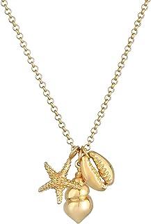 Damen Schmuckset goldene Halskette mit Anhänger Seestern See Stern Medallion