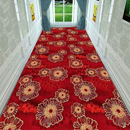 alfombra De Pasillo Pasillo 80cm Ancho Alfombra de Flores, Extra Largo Alfombras para Escaleras con Respaldo Antideslizante, 1-10m de Longitud Opcional (Color : Red, Size : 80x120cm)