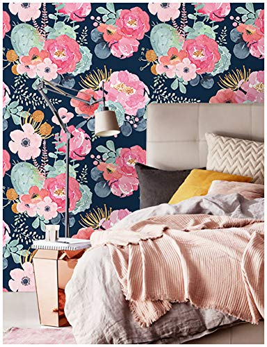 HaokHome 93005-1 Peel and Stick Modern Floral Wallpaper Pink/Green/Navy Blue/Orange Vinyl Self Adhesive Prepasted Contact Paper Decorative 17.7'x 9.8ft