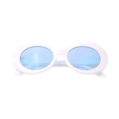 cc0147ef88 JUSLINK Bold Retro Oval Mod Thick Frame Sunglasses Round Lens Clout Goggles