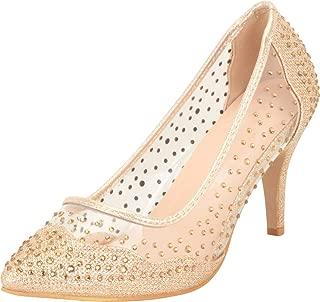 Cambridge Select Women's Pointed Toe Transparent Mesh Crystal Rhinestone Mid Heel Pump