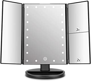 DeWEISN Tri-Flod Lighted Vanity Mirror with 21 LED Lights, Touch Screen and 3X/2X/1X Magnification, Two power Supply Mode make up mirror,travel Mirror (Black)