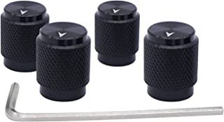 Taiss/ 4pcs Black Aluminum Rotary Electronic Control Potentiometer Knob for 6 mm Diameter Shaft, Volume Control Knobs, Audio knob, Guitar Knobs,Switch Knob, 12.5mm Dia. x 16mm Height