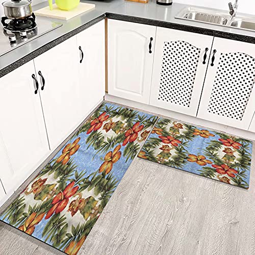 LIFEFREE Kitchen Mats Rug Set, Aloha Hibiscus and Hula Beautiful Blossom Cheerful Continue Cute Dance Dancer Anti Fatigue Standing Mat Area Rugs Waterproof, Non-slip, Oil Resistant Floor Mats