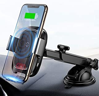 Baseus Wireless Car Charger Mount, 10w Automatic Infrared Qi Fast Charging Car Phone Holder Dashboard Compatible with iPho...