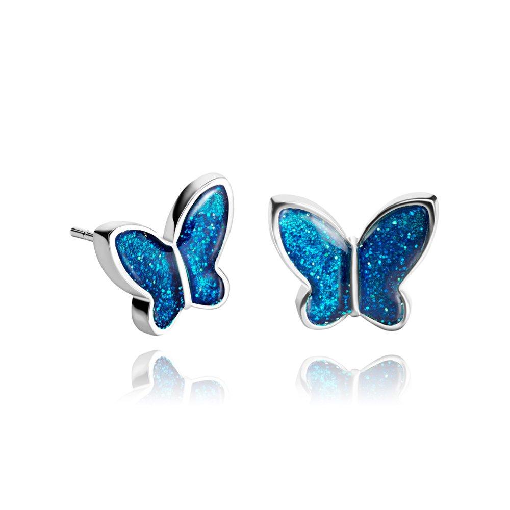 Pendientes de Tuerca Elegantes Mariposa Chapado en Plata Azul Prusia y Brillante; Regalo Gracioso de Todas las dias para Mujer; Diámetro 1.2cm