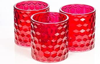 Richland Red Chunky Honeycomb Glass Votive & Tealight Candle Holder Set of 6