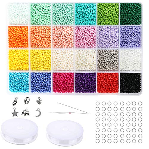 Size 10/0 Crafts Glass Seed Beads 2.8mm Tiny Pony Beads Assorted Kit with Organizer Box for Jewelry Making (24 Assorted Multicolor Set, Total About 9120pcs)