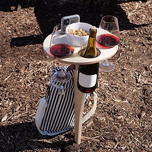 Dantazz Weintisch Klappbar Weintisch Tragbarer Runden Mini-Weinhalter Campingtische Picknicktisch Klapptisch aus Holz, für Outdoor Garten Draußen Picknick Camping Reisen Strand (Beige)