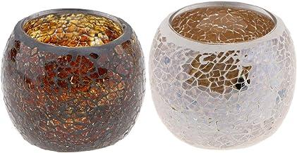 HOMYL 2/4-set Wedding Party Mosaic Amber Glass Candle Holder Tea Light Candelabra Bowl Cup Tabletop Centerpiece - 2-Set C