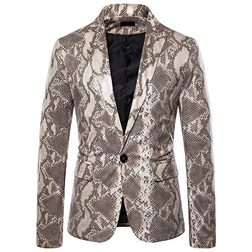 QJSZ Herren Outwear passen Sakko Slim Langarm Revers Anzug Jacke Business formal Mode Muster Jacke...