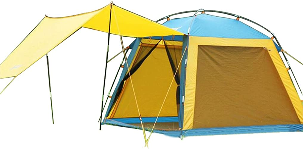 MUTANG Tente de Camping en Plein air 3-4 Famille Imperméable à l'eau Ombre Plage Amateurs Tente Touristique Tente de Camping en Plein air Imperméable Plage Visière Double Quatre Saisons Tente