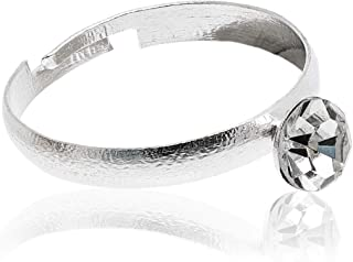 Juvale 100-Count Bulk Silver Diamond Wedding Rings for Bridal Shower Party, Favors, and Table Decoration
