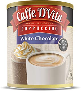 Caffe D'Vita White Chocolate Cappuccino, Pack of 6, 1 lb cans (16 oz)