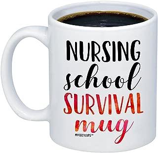 MyCozyCups Nursing Student Gifts - Nursing School Survival Mug - Funny Registered Nurse Assistant, Practitioner, RN, 11oz Coffee Cup For Women, Best Friend, Daughter, Mom, Wife - Graduation Present