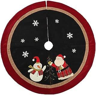SamXmas Christmas Tree Skirt, 35inches Large Black Red Burlap Snowflake Santa Cartoon Xmas Indoor Decorations for Party
